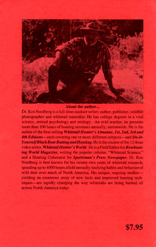 Dr Ken Nordberg's The Whitetail Hunter's Almanac 4th Edition Back Cover