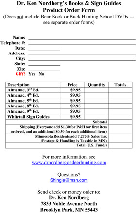 Order form for purchasing Whitetail Hunter's Alamanacs and Sign Guides from Dr. Ken Nordberg